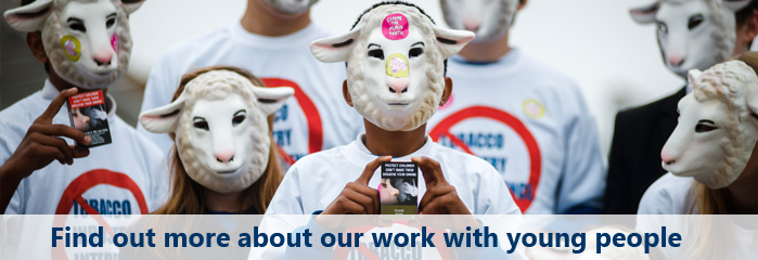 Children in sheep masks protesting outside Scottish Parliament